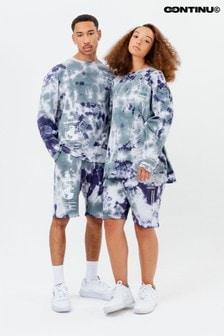 Continu8 Unisex Blue Tie Dye Jersey Shorts