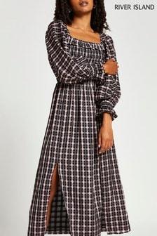 River Island Pink Long Sleeve Frill Shirred Midi Dress