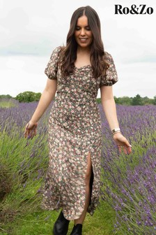 Ro&Zo Black Meadow Floral Square Neck Dress