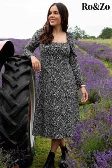 Ro&Zo Black Pebble Print Jersey Square Neck Dress