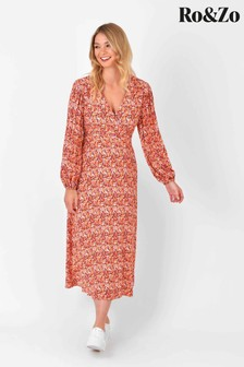 Ro&Zo Pink Ditsy Wrap Neck Dress