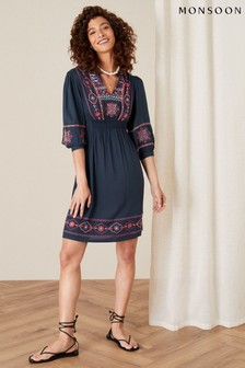 Monsoon Blue Embroidered Dress In Lenzing™ Ecovero™