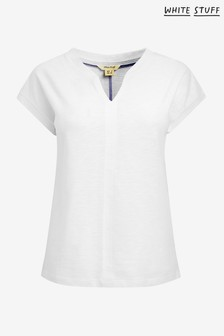 White Stuff White Nelly Notch Neck T-Shirt