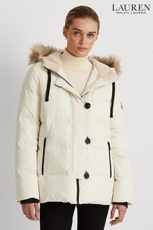 Lauren Ralph Lauren Womens Cream Luxe Down Quilted Ski Inspired Jacket