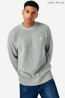 Jack Wills Grey Marl Aldeburgh Ribbed Crew Neck Knitwear Jumper