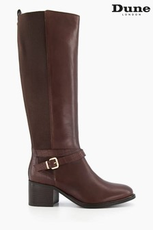 Dune London Brown Tildings Strap Detail High Leg Boots