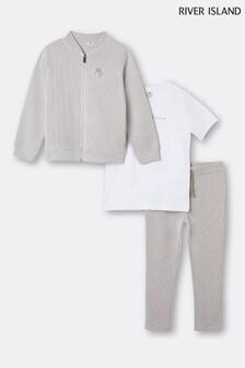 River Island Stone Light Textured T-shirt Jacket Jogger Set