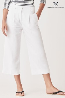 Crew Clothing Company White Wide Leg Crop Tuck Trousers