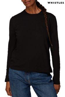 Whistles Black Organic Long Sleeve T-Shirt