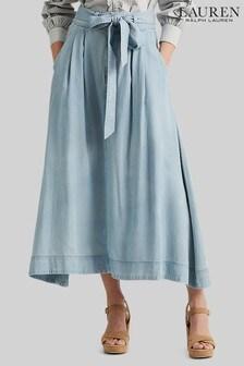 Lauren Ralph Lauren Blue Wash Shirlaine A-Line Skirt