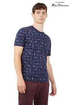 Ben Sherman Blue Check Print T-Shirt