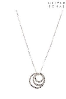 Oliver Bonas Silver Tone Dory Textured Circle Charms Necklace
