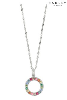 Radley Sterling Silver Pendant Necklace with Rainbow Stones