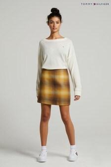 Tommy Hilfiger Womens Yellow Wool Short Skirt