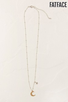 FatFace Silver Tone Moon And Star Necklace
