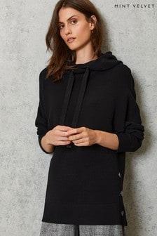Mint Velvet Black Black Ottoman Knitted Hoodie