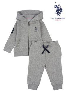 U.S. Polo Assn. Grey Zip Through Hoodie And Joggers Set