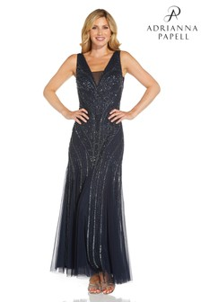 Adrianna Papell Womens Blue Beaded With Godets Gown