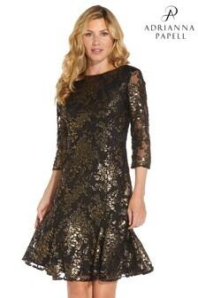 Adrianna Papell Womens Black Foiled Velvet Flared Dress