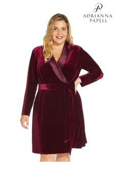Adrianna Papell Womens Purple Velvet Tuxedo Dress