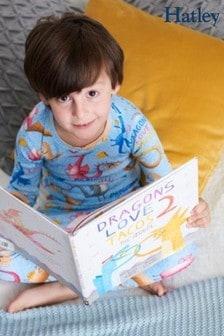 Hatley Blue Long Sleeve Dragon Loves Tacos Pyjama Set