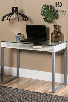 Banbury Designs Modern Glass Top Desk