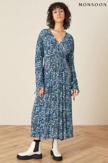 Monsoon Blue Shirred Animal Print Dress