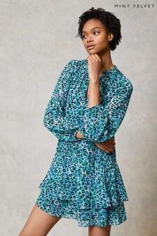 Mint Velvet Natural Maeve Floral Tiered Mini Dress