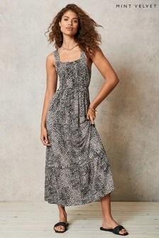 Mint Velvet Liv Animal Jersey Midi Dress