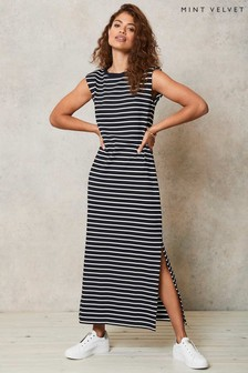 Mint Velvet Natural Stripe Jersey Midi Dress