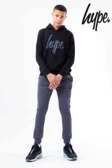 Hype. Kids Black Hoodie And Charcoal Joggers Set