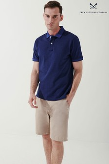 Crew Clothing Company Blue Oxford Tipped Polo Shirts