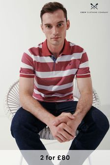 Crew Clothing Company Mens Red Oxford Stripe Polo Shirts