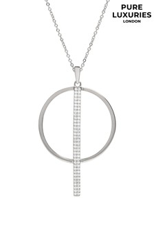 Pure Luxuries London Womens Rose Gold Plated Borealis Open Circle Necklace