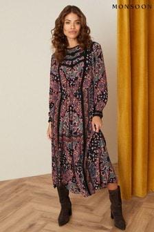 Monsoon Black Lace Trim Printed Midi Dress