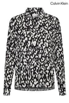 Calvin Klein Leopard Viscose Crepe Blouse