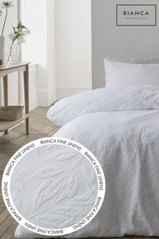 Bianca White Matelasse Jacquard Leaves Duvet Cover and Pillowcase Set