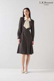 L.K.Bennett Womens Black Moore Mathilde Polka Dot Dress