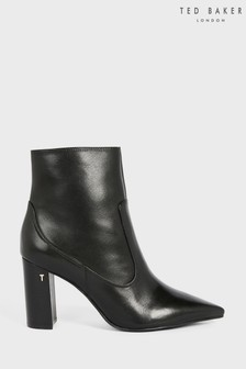 Ted Baker Black Nysha Leather Block Heel Ankle Boots