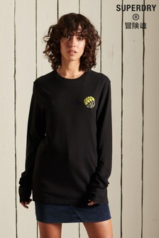 Superdry Black Loose-Fit Military Long-Sleeve T-Shirt