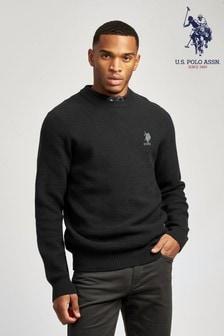 U.S. Polo Assn. Black Cotton Waffle Knit Crew Jumper