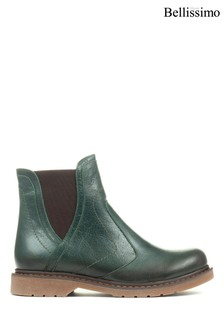 Bellissimo Green Ladies Leather Chelsea Boots