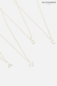 Accessorize Sterling Silver Initial Pendant Necklace