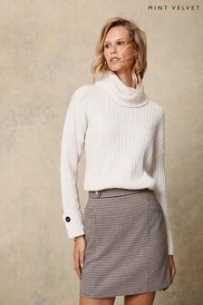 Mint Velvet Beige Checked Mini Skirt