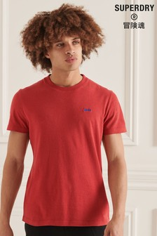 Superdry Red Organic Cotton Micro Embroidered T-Shirt