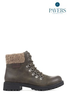 Pavers Ladies Green Lace-Up Ankle Boots
