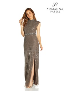 Adrianna Papell Silver Beaded Mock Neck Gown