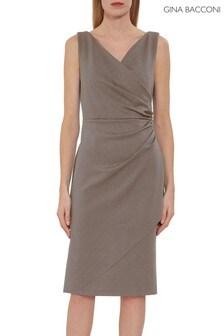 Gina Bacconi Brown Tessie Stud Wrap Dress