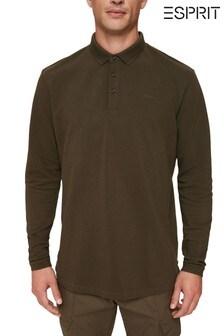 Esprit Green Long Sleeve Pique Polo Shirt