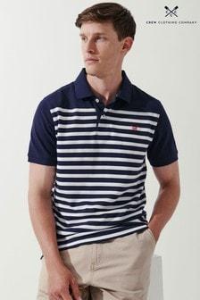 Crew Clothing Company Blue Corby Herringbone Stripe Polo Shirt